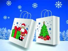 Papierowe torby ekologiczne ze świątecznym wzorem