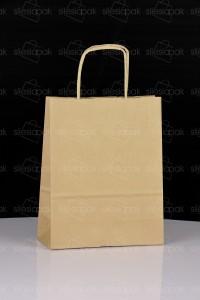 C1 torba papierowa brązowa uchwyt skręcany ekologiczna