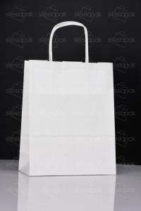 D1 torby papierowe białe uchwyt skręcany