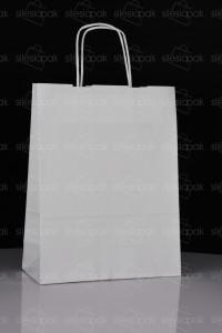 D3 torby papierowe białe uchwyt skręcany