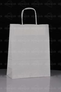 D4 torby papierowe białe uchwyt skręcany