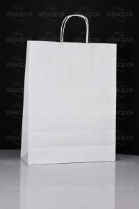 D5 torby papierowe białe uchwyt skręcany