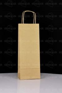 W1 torba papierowa na butelki brązowa uchwyt skręcany